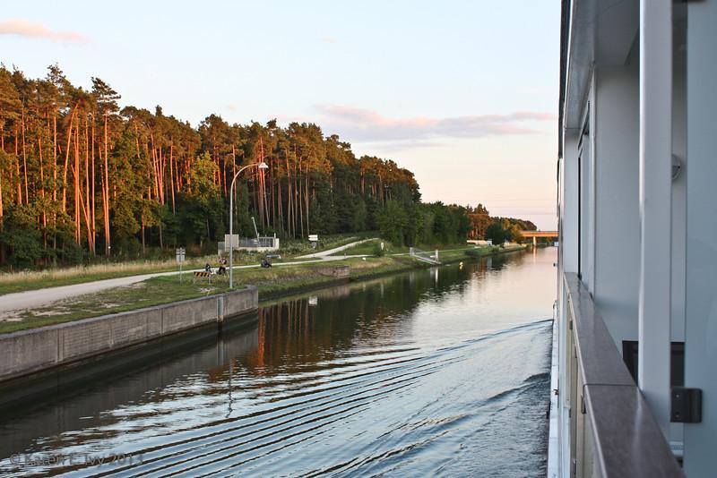 Cruising the Main-Donau Canal at sunset
