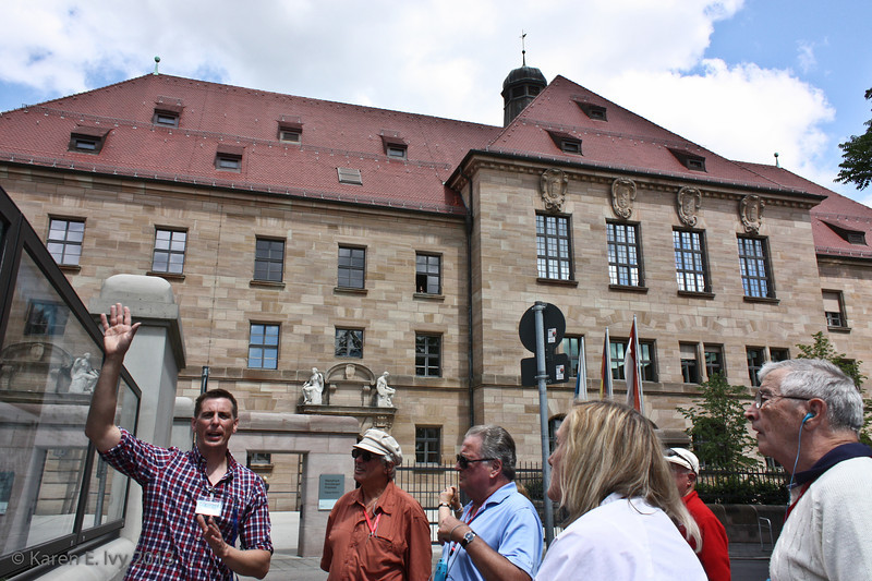 Our tour guide, Frank, in front of  the Palace of Justice on Fürther Strasse, where the Nuremberg trials were held