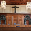 Nuremberg trials courtroom, with part of Frank lecturing us
