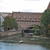 Two bridges over the River Pegnitz: the Fronfeste (stone) and the Kettensteg (steel). The latter dates from 1824.
