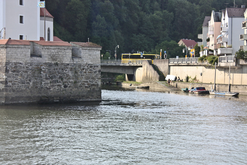 Leaving Passau - the Weste Niederhaus at the confluence of the Ilz River