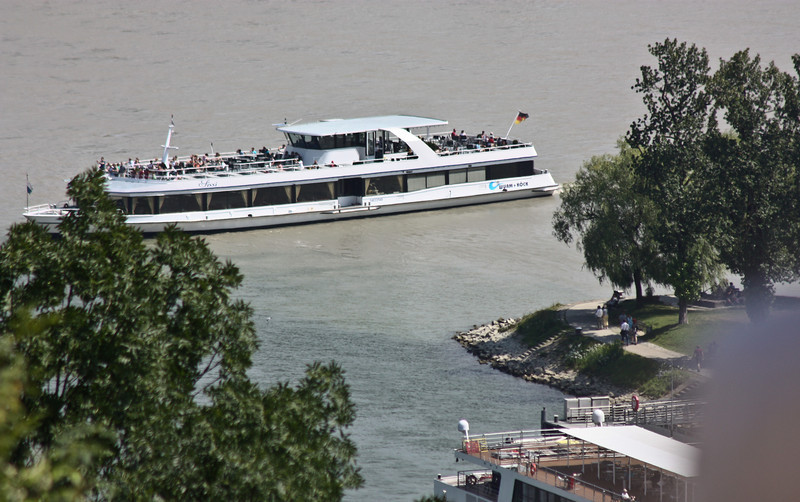 Confluence of the Inn and Danube Rivers, with boat traffic