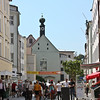 Street in Passau - the tower belongs to the Votive Church of Mary of the Immaculate Conception