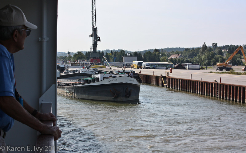The barge Loretta, just upstream from Passau