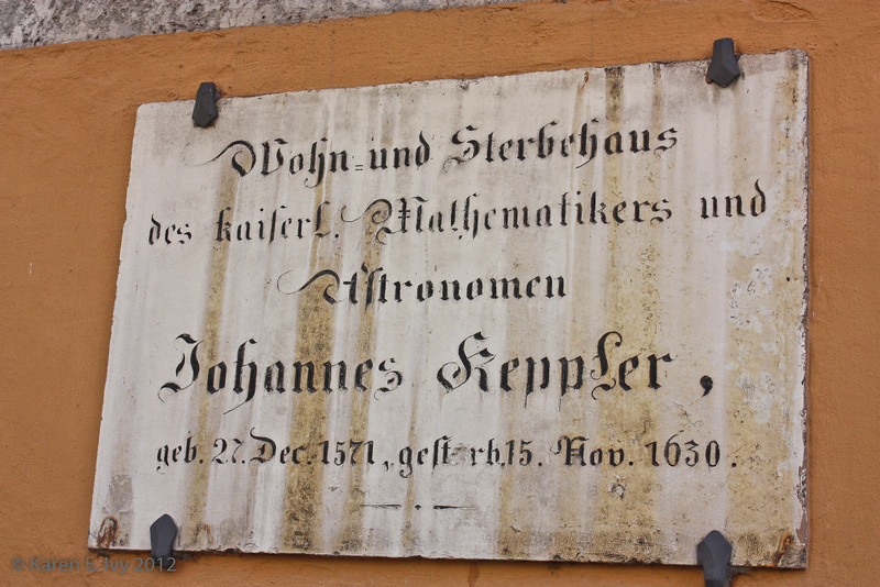 Plaque marking the house where Johannes Kepler died, which was not open on Mondays