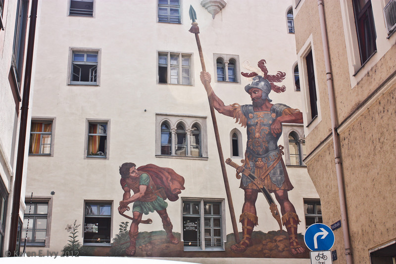Mural of David and Goliath, 16th century