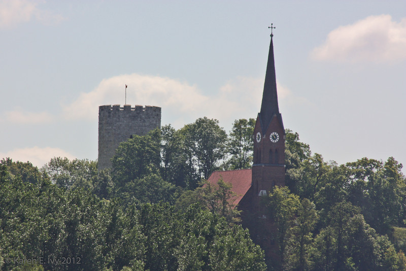 Restored tower of Bad Abbach castle, where emporer Heinrich II was born, and Bad Abbach Church