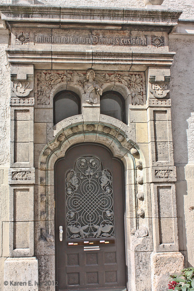 """Medieval doorway - the inscription translates roughly, """"Lord, keep the entrance and the exit."""""""