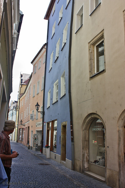 Street in old part of Regensburg - not all the buildings are vertical
