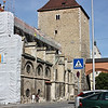 Remains of medieval stable and Römerturm, next to very modern construction