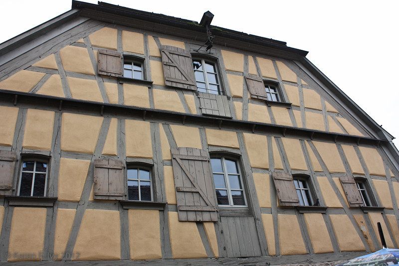 Half timbered house with shutters