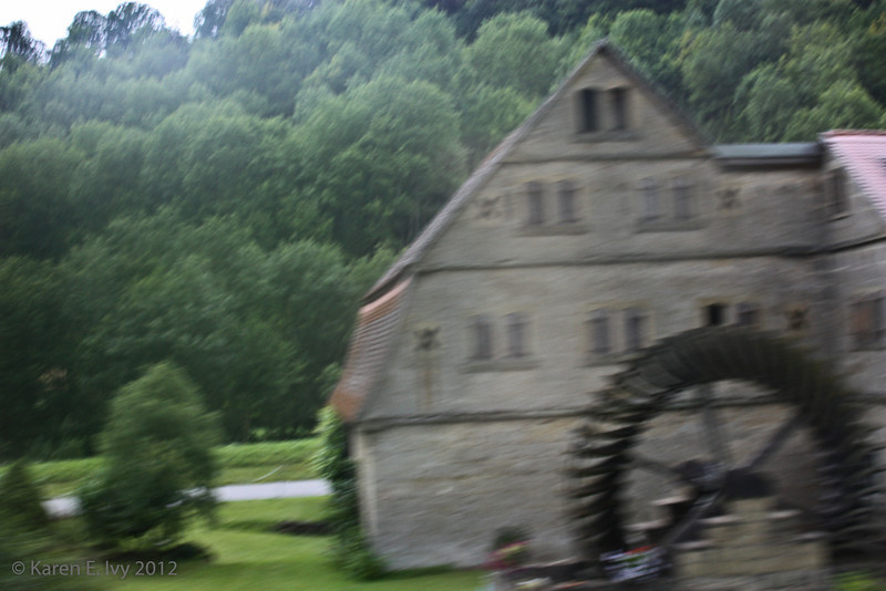 On the road to Rothenburg ob der Tauber - this is really out of focus but it was the only shot I got of a building  and windmill like this