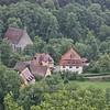 Outside the walls - the little church is Unser Liebe Frau zu Kobolzell, plus a small inn