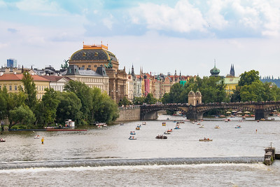 Buildings Along the Vltava River from the Charles Bridge