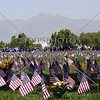 Flags planted for the memorial day at the Riverside National Cemetery in Riverside, California.
