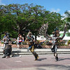 Mayan dancers in the plaza in San Miguel on Cozumel.