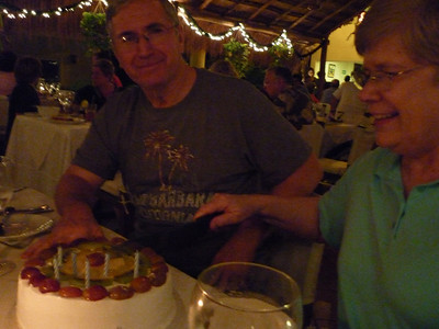 Dennis and Glenna cutting their anniversary cake.