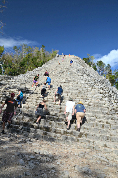 There are 120 stairs to the top of the Nohoch Mul pyramid.