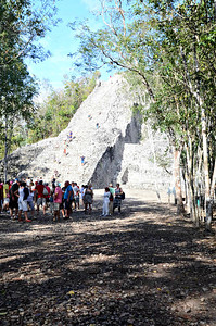 At a height of 42 meters, the Nohoch Mul pyramid is the tallest Mayan pyramid in the Yucatan, and is still open for visitors to climb.  They are planning, however, to shut this down at the end of 2013.