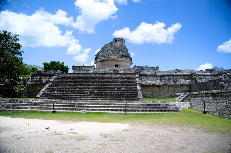 """El Caracol, also known as """"the observatory,"""" presents us with some of the most insightful information as to the skywatching activities of the Mayans.  El Caracol seems to be carefully aligned with the motions of Venus, a planet which held great significance within the Mayan culture as it was considered to be the twin to the sun and a God of war.  Mayan leaders planned appropriate times for battle by the positions of Venus.  El Caracol is the only building out of line with the others at Xichen Itza with its grand staircase facing 27.5 degrees to the northwest - nearly a perfect match to the most northern position of Venus.  In addition, a diagonal formed by the northeast and southwest corners of the builting align to the sunrise of the summer solstice and sunset of the winter solstice."""