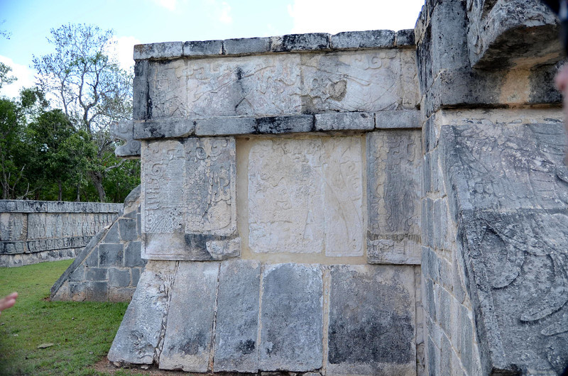 Carvings on the Platform of Eagle and Jaguar.  Xichen Itza, Yucatan, Mexico