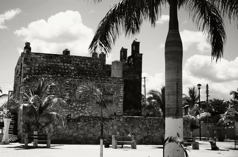 The afore-mentioned Catholic church built of the bricks of El Castillo removed by the Franciscans - Piste, Yucatan, Mexico