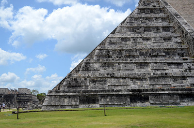 Kukulkan - the descending serpent - on the restored sides of El Castillo at Xichen Itza Ruins - Yucatan, Mexico