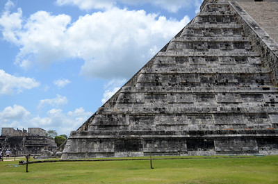 Kukulkan - the descending serpent - on the restored sides of El Castillo at Xichen Itza - Yucatan, Mexico
