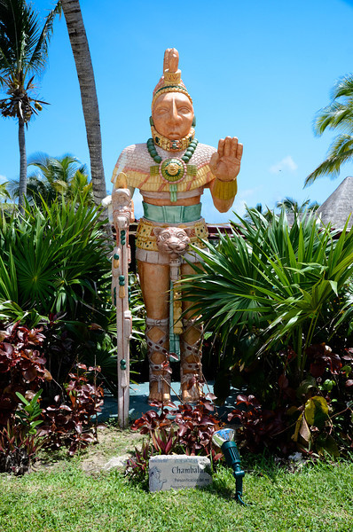 One of the many, many Mayan statue (replicas) found throughout the resort.<br /> Barcelo Maya Caribe - Puerto Aventuras, Mexico