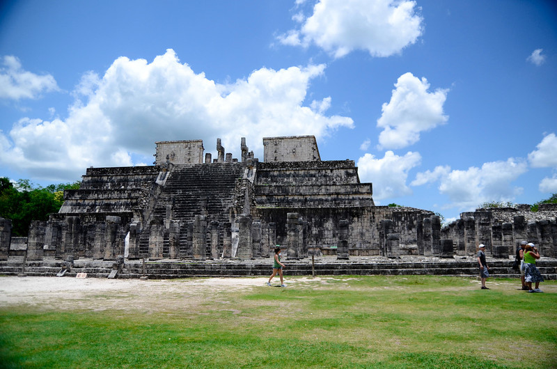"Constructed in the Toltec style of architecture and surrounded by hundreds of massive, limestone columns, The Temple of the Warriors and the adjacent Temple of the Jaguar make up the expansive ""Thousand Columns"" section of the ancient city of Xichen Itza."