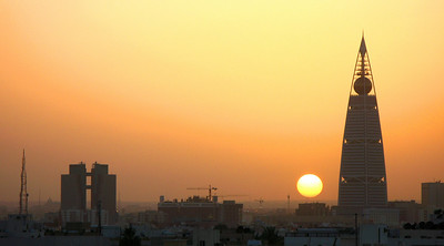 Sunset over Riyadh looking at the Norman Foster designed Al Faisaliyyah building.