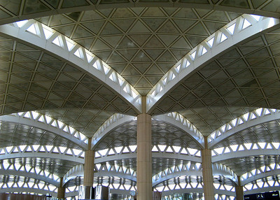 King Khaled International Airport, Riyadh, Saudi Arabia ... built in the early 80s to a design by the American firm of HOK ... it is said that the spectacular roof design was inspired by the indigenous palm tree.
