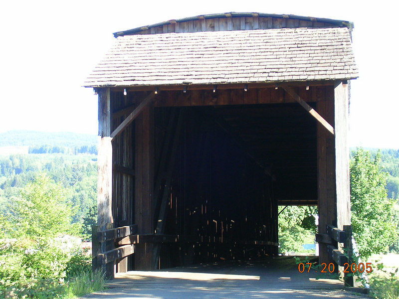 <h2>Covered Bridge</h2> This is the Grey's River Covered Bridge, it's 158 ft long and 14 ft wide.  It held up my car ok, twice even.