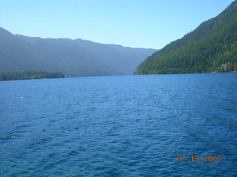 <h2>True Blue</h2> This is what water is supposed to look like.  This is Lake Cresent.  It is glacier created lake that is over eight miles long and some 625 feet deep, and I drove along side it for its entire length on US-101.