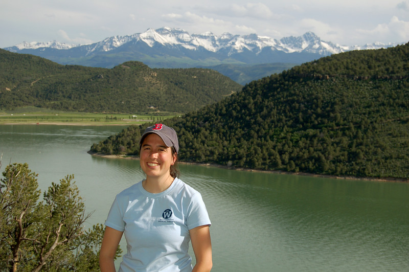 Michelle in front of Ridgway Resevoir, at Ridgway State Park, CO.