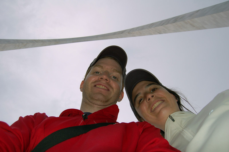 Us under the Gateway Arch in St Louis, MO.