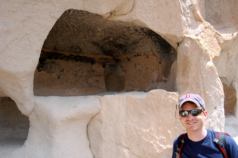 Roderick at a cave dwelling, Bandelier National Monument, NM.
