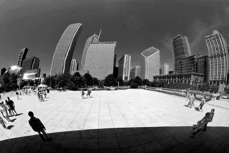 Downtown Chicago, reflected in The Bean in Millennium Park.