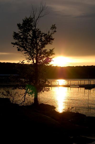 Sunset at Keystone Lake in Okalahoma.