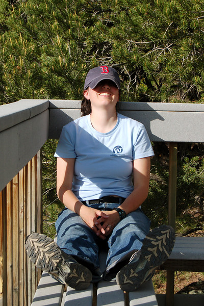 Michelle catching a snooze at Ridgway State Park, CO.
