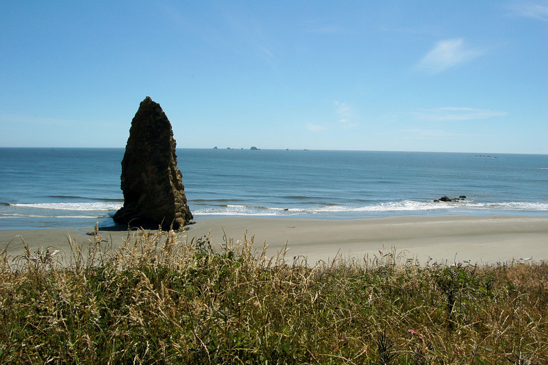 Large pointed stone on the beach at Cape Blanco State Park, OR.  Whales (both real and made of stone) in the distance.