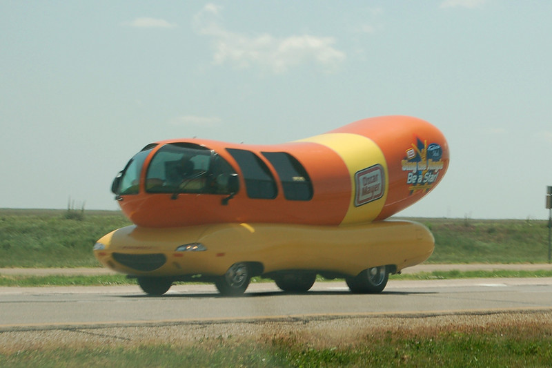 The Weinermobile!  You never know what you'll see in Texas...