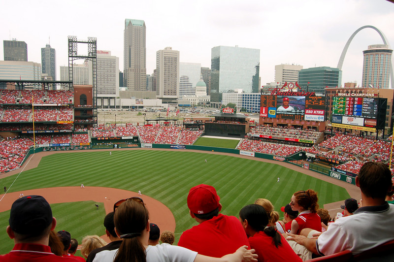 Busch Stadium in St. Louis, MO, at the Cardinals-Nationals game.