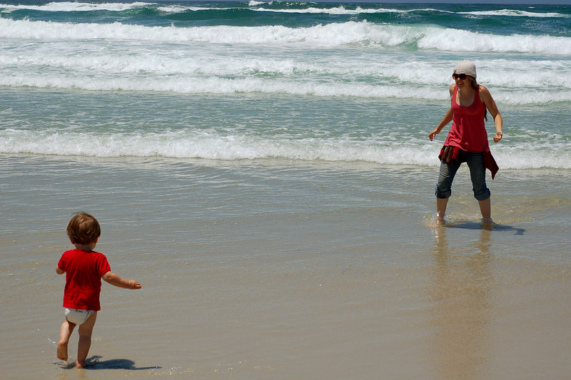 Niki and Jude on the beach, Monterey, CA.