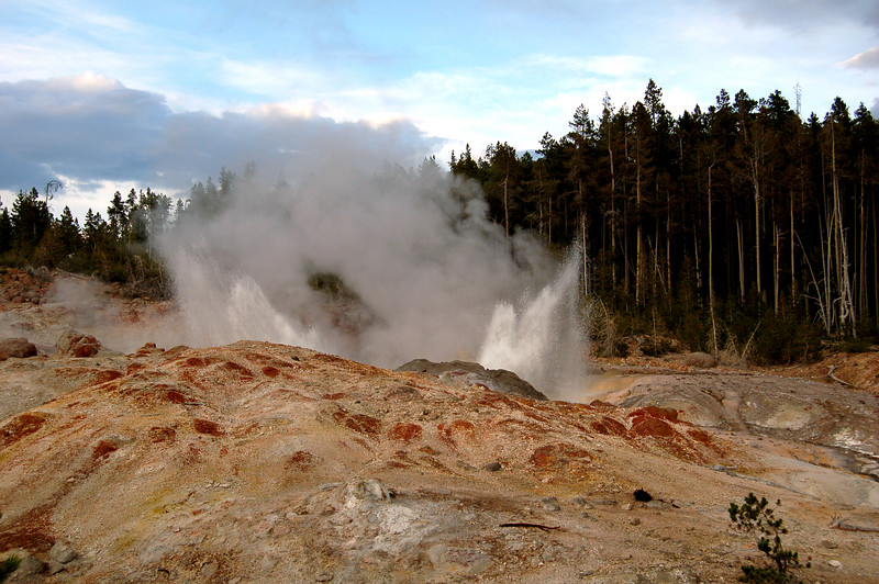 Steamboat Geyser, in the Norris Basin of Yellowstone National Park, WY.