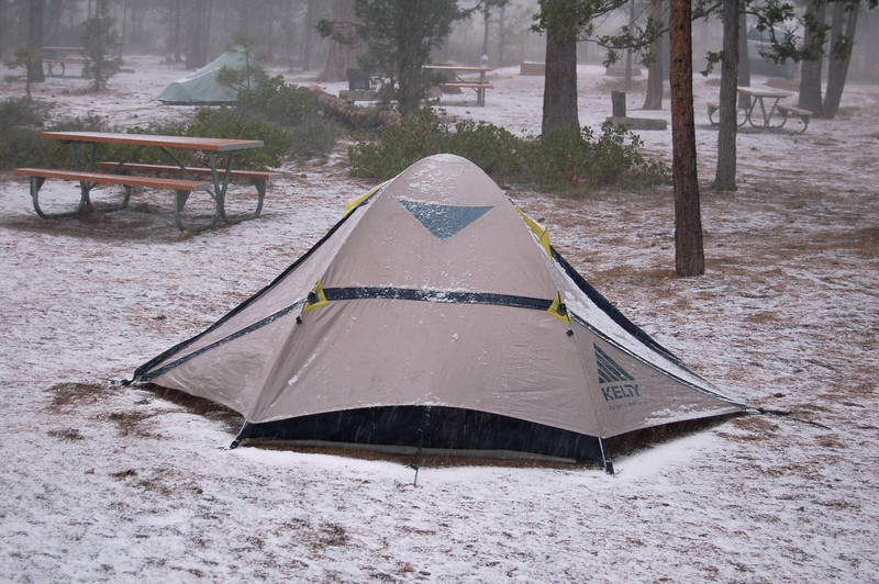 Our tent in the morning in Bryce Canyon National Park, UT.