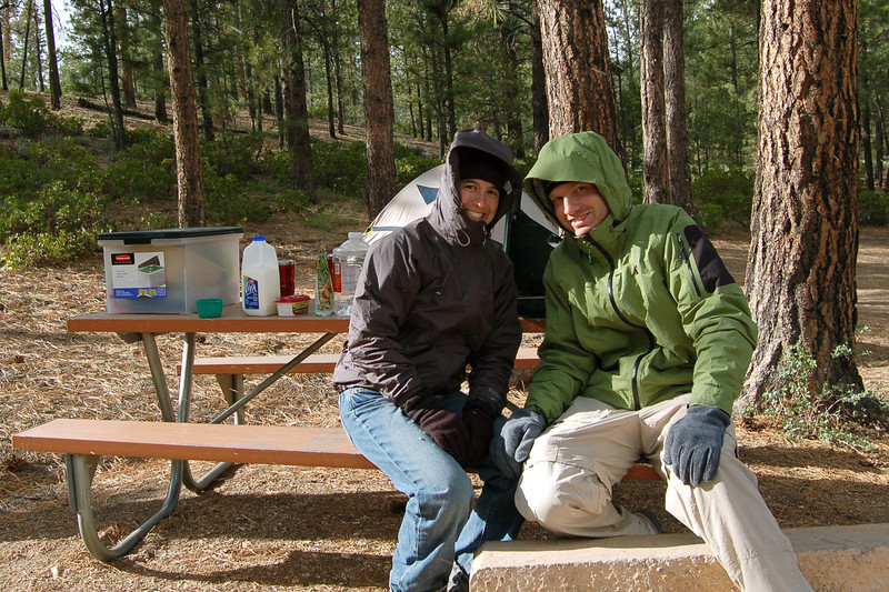 Michelle and Rod Freezing making dinner (it dropped to 27 degrees F overnight), Bryce Canyon National Park, UT.