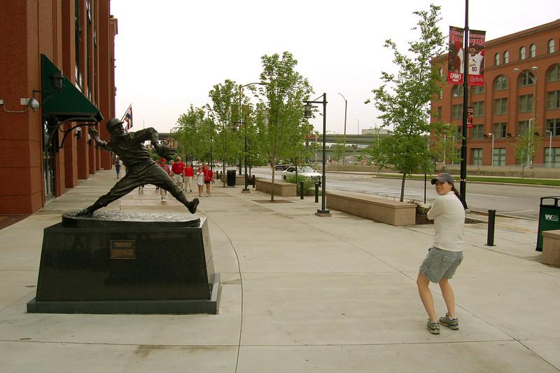 Michelle vs Dizzy Dean, outside of Busch Stadium in St Louis, MO.