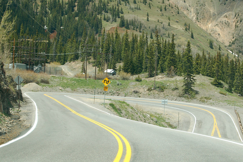 Winding roads on Rt 550 over Red Mountain Pass, CO.