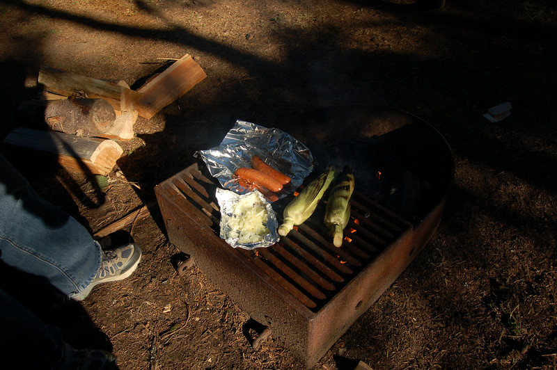 Corn and Brats on the fire, Cape Blanco State Park, OR.
